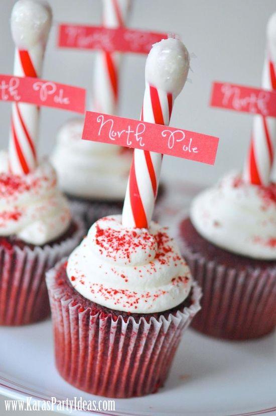 North Pole Cupcakes via www.KarasPartyIde... DIY instructions & FREE printable North Pole tag!