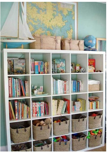 Bookshelves - ideas for combined adult and kid storage.