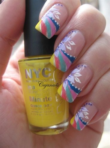 Nail art: Rainbow tip with flower by Cajanails - Nail Art Gallery nailartgallery.na... by Nails Magazine www.nailsmag.com #nailart