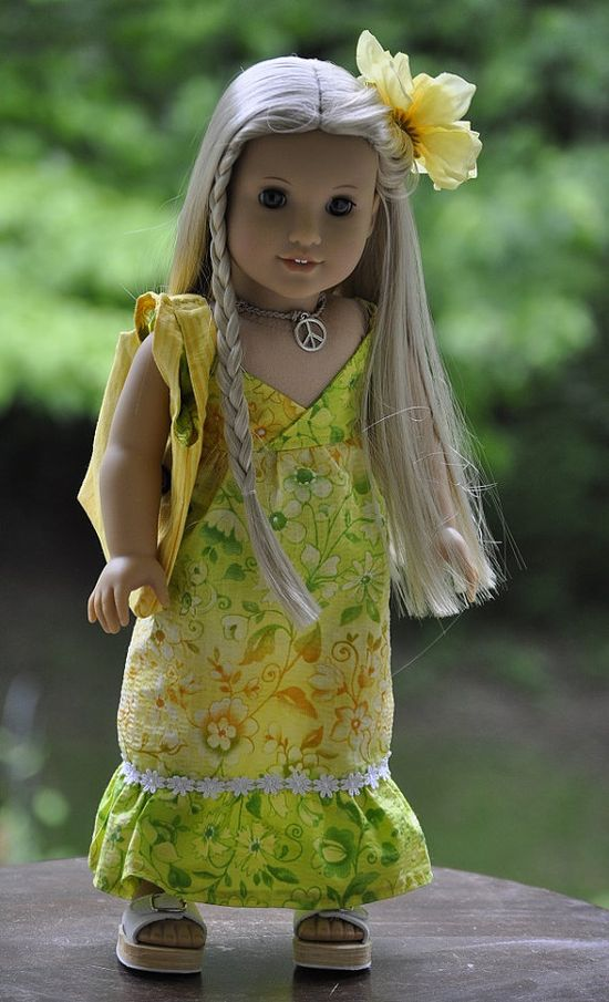 American Girl doll Julie Ivy sun dress, sandals, necklace, hair clip