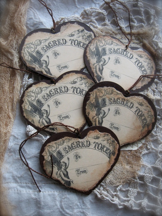 Vintage Inspired French Grave Marker - Sacred Token Tag..by PetiteMichelleLouise.