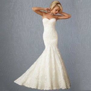 Backless mermaid lace applied sexy wedding dress