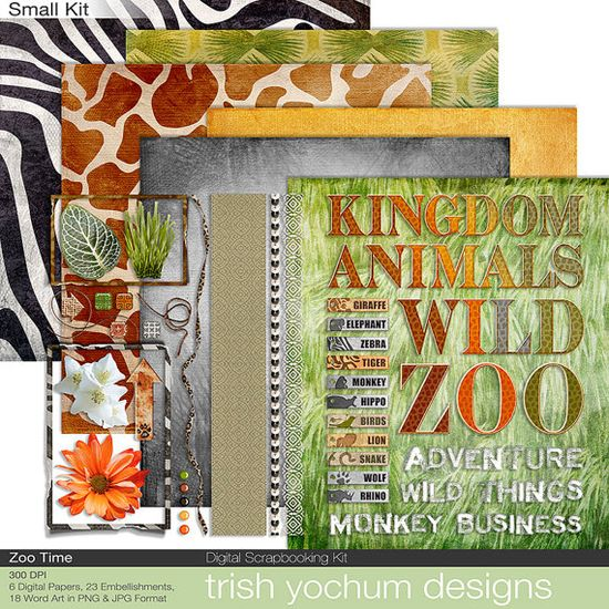 Zoo Digital Scrapbook - Animal Clipart - Wild Animal Print Papers - Zoo Time Kit  Printable - Instant Download