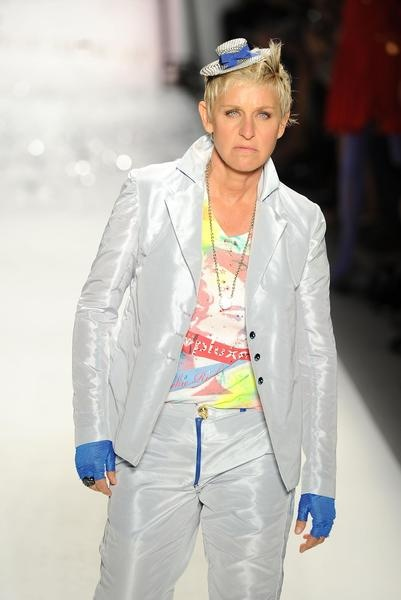 Ellen DeGeneres  DeGeneres made her catwalk debut last September at the Richie Rich Spring 2011 fashion show in New York City. Are tiny top hats really in style?