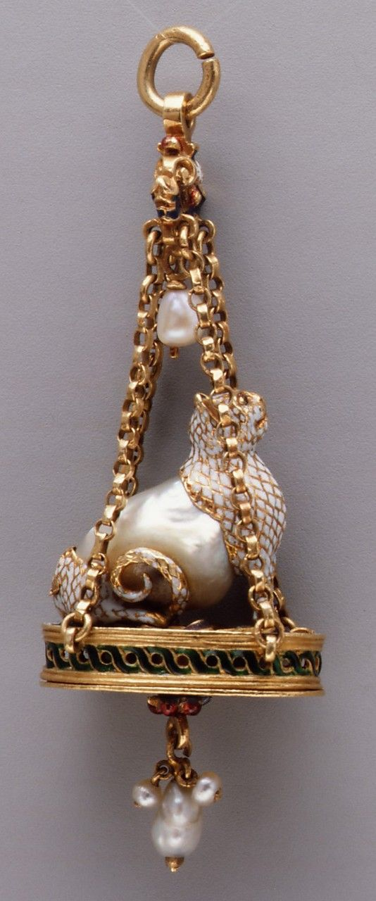 Pendant in the form of a seated cat;   Date: late 16th–early 17th century; Culture: Spanish, probably; Medium:  Baroque pearl with enameled gold ounts and with pendant pearls; Dimensions: H. 2-1/16 in. (5.2 cm)