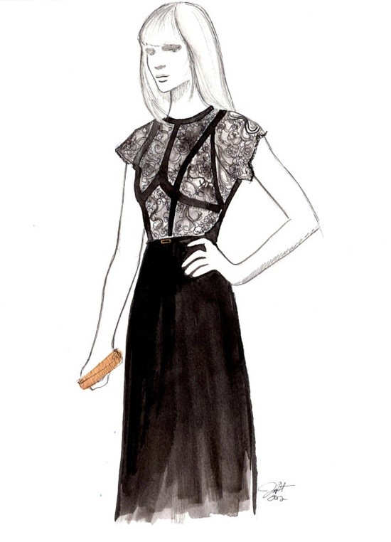 Black Lace, #watercolor by Jessica Durrant #illustration