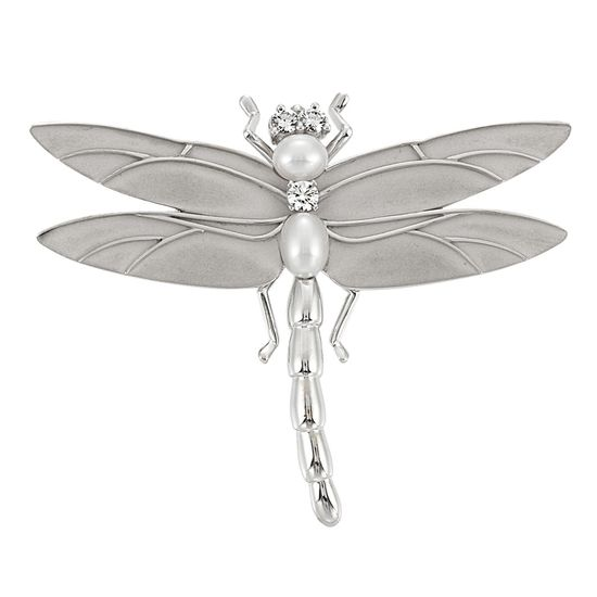 White Gold, Cultured Pearl and Diamond Dragonfly Clip-Brooch, Tiffany & Co.   18 kt., 3 round diamonds ap. .45 ct., signed Tiffany & Co., ap. 12 dwt. With signed box.