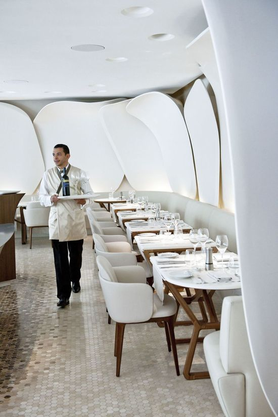 Hotels & Resorts, Beautiful Luxurious Mandarin Oriental Paris Hotel Interior Design In French: White Chairs And Wooden Table In Bright White Restaurant
