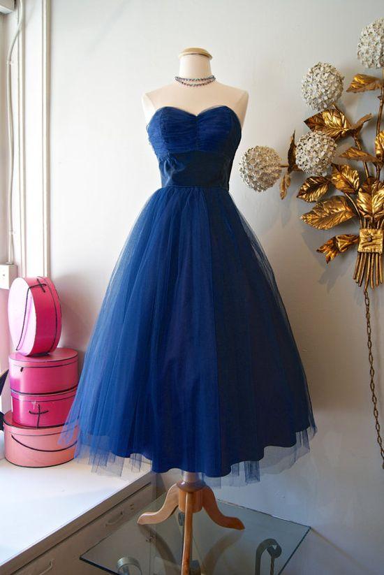 50s Dress // Vintage 1950s Strapless Blue Velvet by xtabayvintage, $198.00