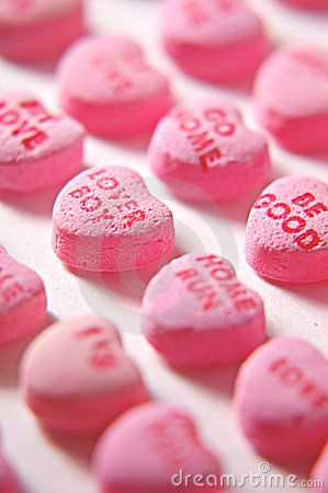 Pink candy hearts.