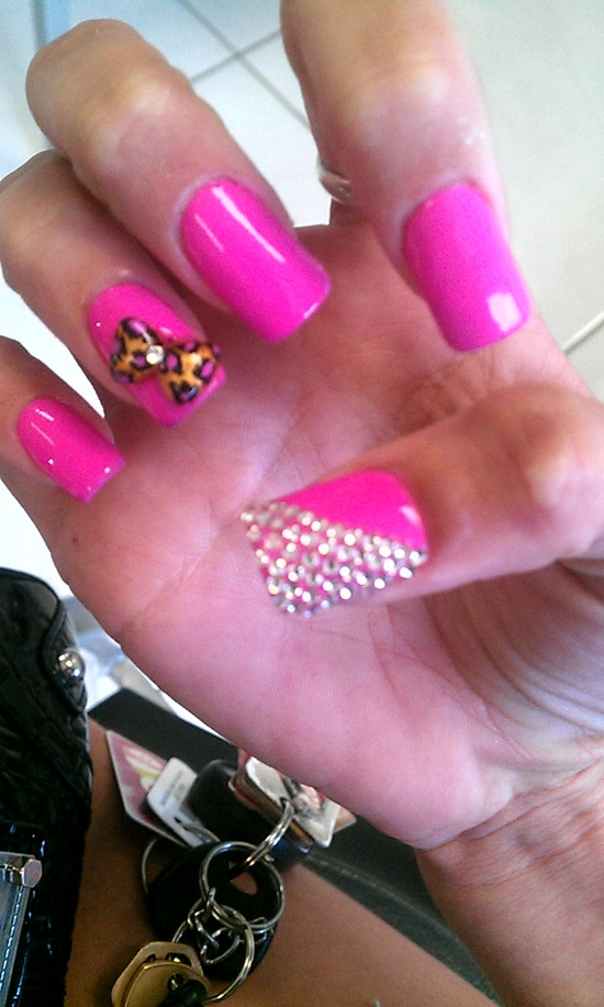 Obsessed with my nails! Hot pink with a leopard bow!