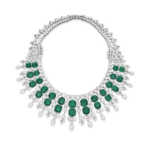 An Emerald and Diamond Necklace by Harry Winston