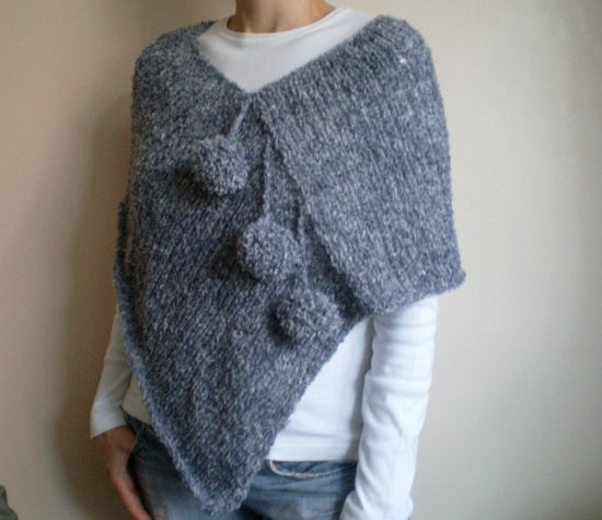 Knit Pompom Gray Grey Poncho Shawl Stole Wrap Autumn Accessories Fall Fashion Woman Poncho. $59.00, via Etsy.