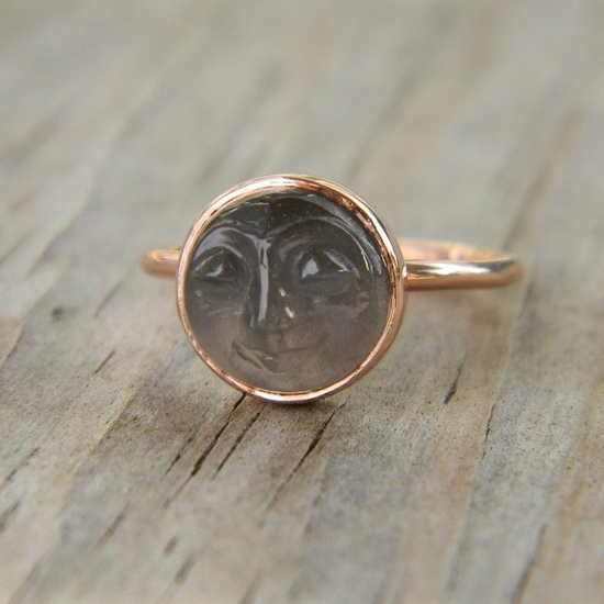 Man in the Moon 14k Rose by onegarnetgirl