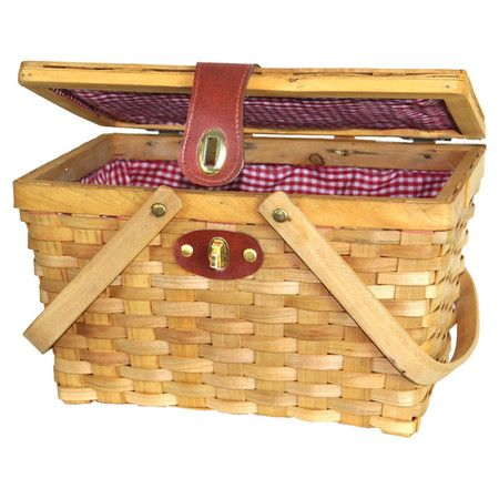 Picnic basket with plaid lining and a faux leather clasp.  Product: Picnic basketConstruction Material: Woodchip...