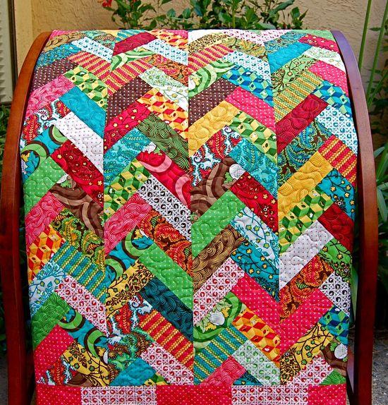 scrappy braid quilt