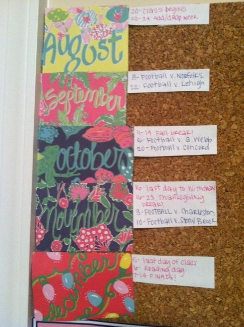 Important semester dates on a bulletin board using Lilly agenda paper