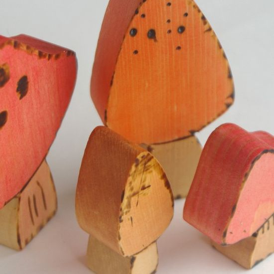 Wooden toadstools toy