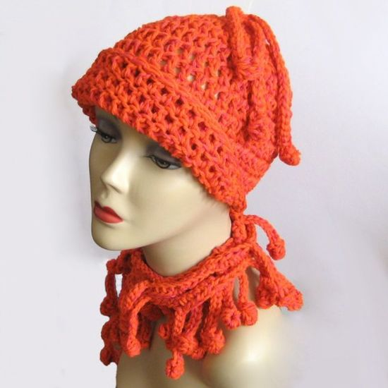 Pumpkin Crochet Cloche Hat by KnittingGuru. (Shown with Orange Bobble Crochet Scarf/Lariat.)