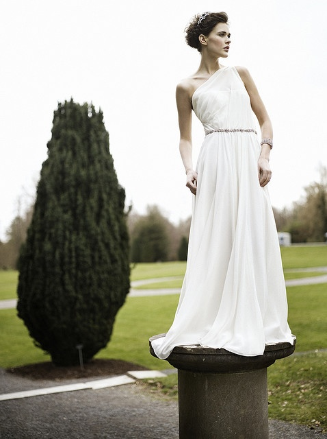 The best grecian style wedding dress and amazing Greek inspired bridal hairstyle.