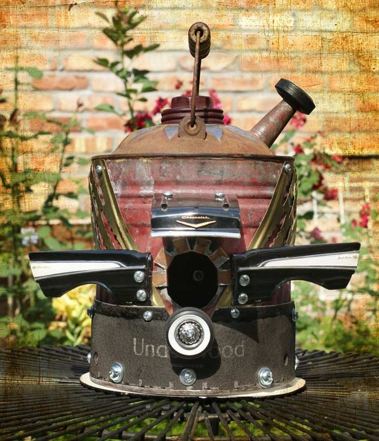 Birdhouse Bird house Repurposed Upcycled Hot Rod Chevy OOAK Bird House with Recycled Metal Toy Car Parts.