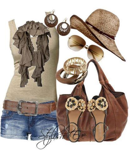 Summer Clothes - neutrals. Super cute except for the shoes and maybe a different hat?? ????