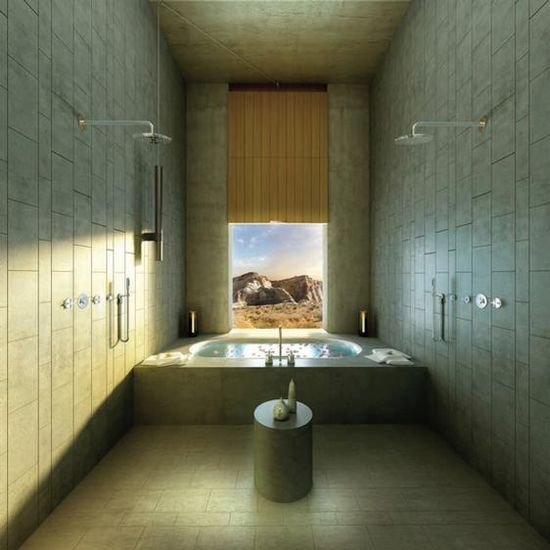 Shower with scenic views at Amangiri