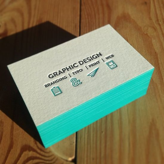 Check out those beautifully designed letterpress business cards with painted edges