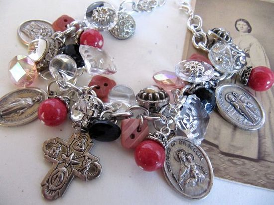 Handmade Charm Bracelet Vintage Religious Medals - Pink Stone Beads and Glass Buttons - OOAK Assemblage Creation