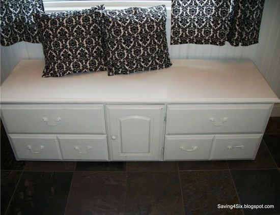 repurposing an old dresser into a bench for a mudroom. bottom set of drawers were cut off and use the top for a bench and storage in the mudroom. I really like this.