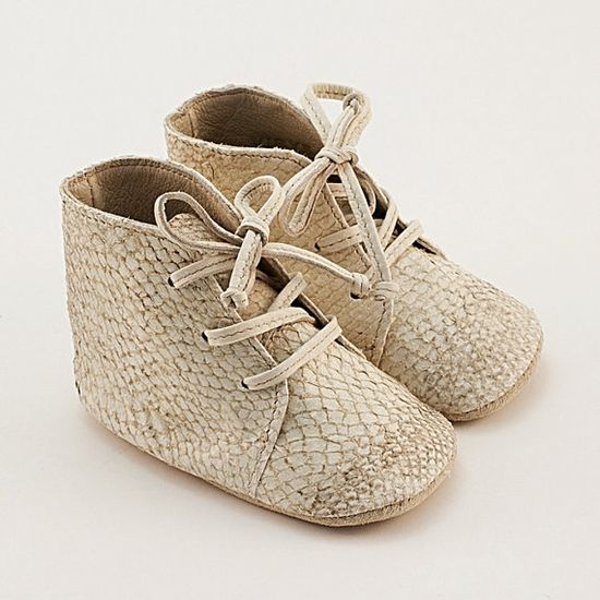 Baby shoes from beige fish leather by Vibys on Etsy
