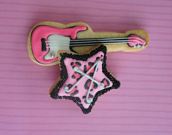 Guitar and Pink Leopard Cookies