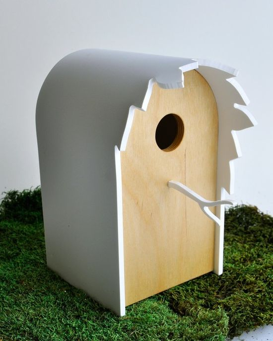 Modern Birdhouse 'Canopy' - Contemporary birdhouse, modern garden, tree leaves silhouette (this is very pretty, and hopefully not painted on the inside as that is bad for the birds)