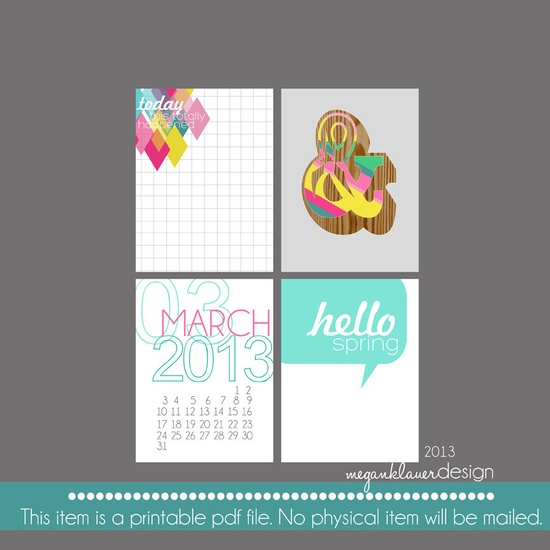 2013 Project Life Printable Journaling Cards Spring Theme - March. $2.00, via Etsy.