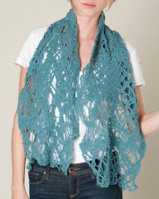 Cobweb Sea Scarf wool felt blue teal lighweight by texturable, $55.00
