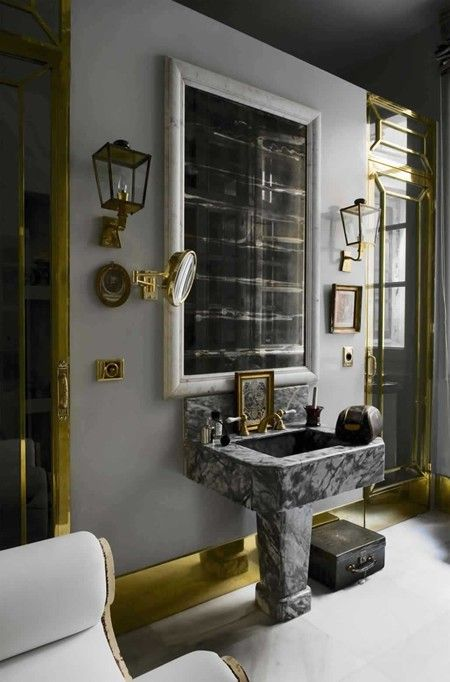 dove grey and brass bathroom