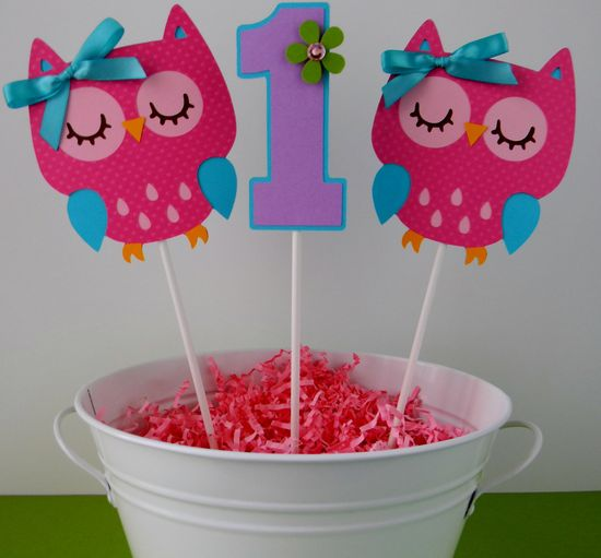 3 Colorful Owl Birthday Party - Centerpiece Sticks.