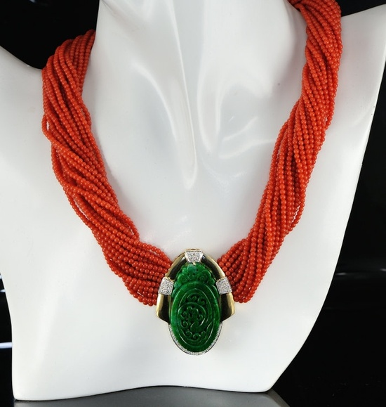 Spectacular coral mlti-strand diamond and natural imperial jade one off necklace. via Etsy.