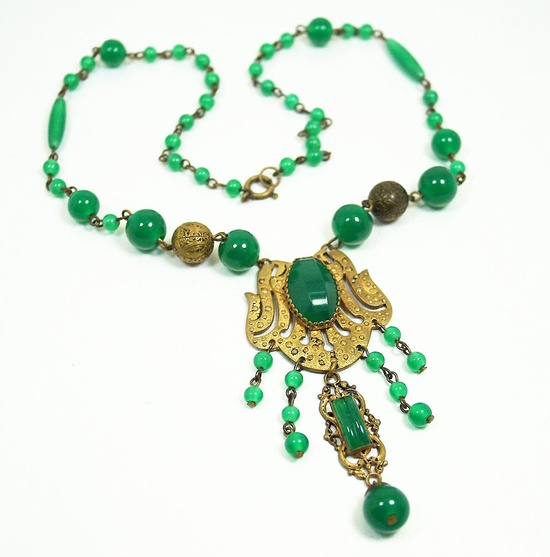 Art Deco Czech Necklace Jade Glass Gilt Antique Jewelry