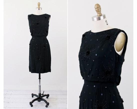 vintage 50s 60s dress // Little Black Fireworks Cocktail Dress with Sequin Rose Starbursts