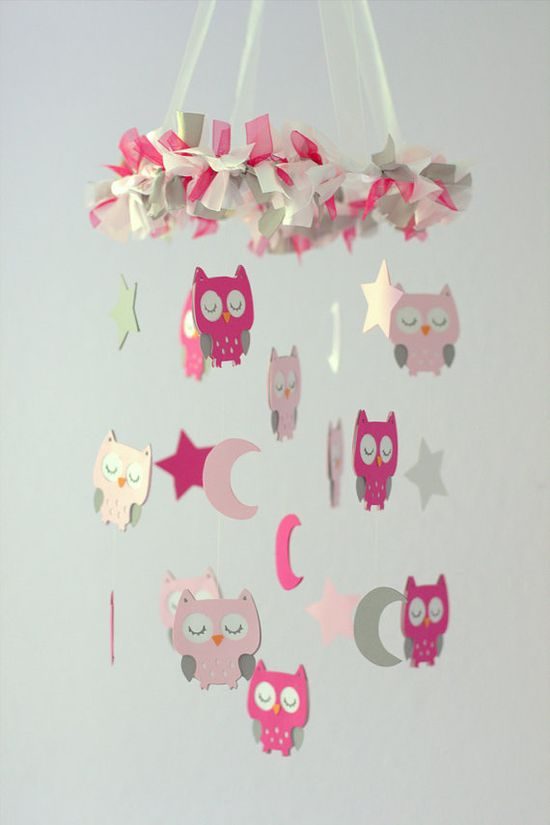 Owl Nursery Mobile in Pink & Gray- Baby Mobile, Crib Mobile, Baby Shower Gift