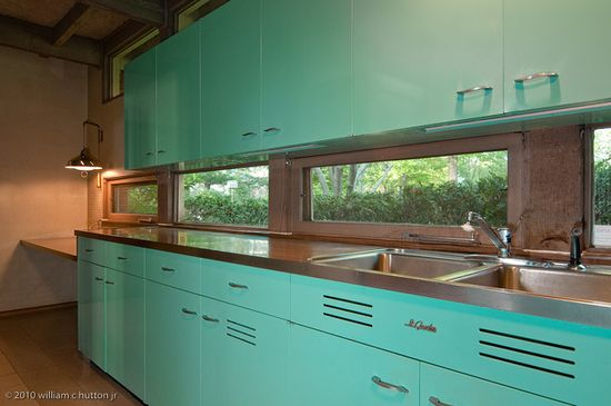 This is a true time-capsule. St. Charles mid- century turquoise  steel kitchen.