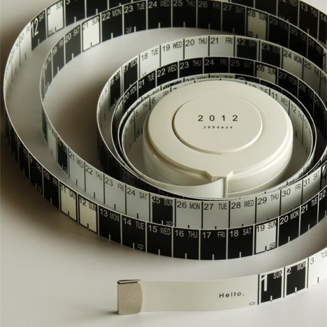 Measure Calendar by Hiroyuki Miyake: An interesting perspective on the length of time with a retractable centimeter tape measure on one side and days of the year on the other. #Calendar #Tape_Measure #Measure_Calendar #Hiroyuki_Miyake