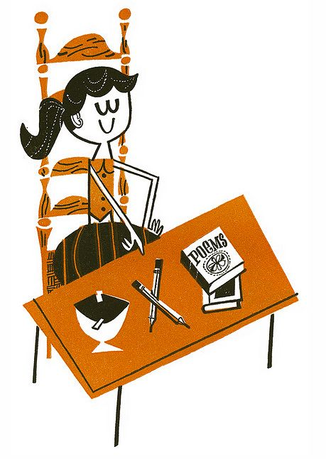 "Illustration from ""Fun with Mind Reading"" (from Mid-Century Modern Design, via Illustrated Ladies)"