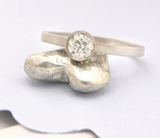 Conflict free diamond, recycled gold band