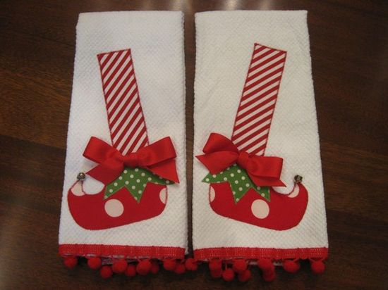 Appliqued  Christmas Elf Shoes Dish Towels by UncommonFabrics, $29.99