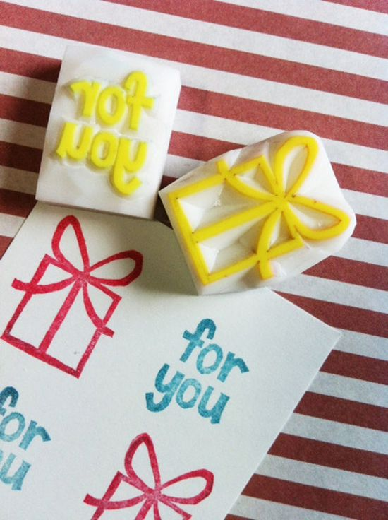 for you. hand carved rubber stamp. handmade rubber tamp. gift box set of 2. $11.00, via Etsy.