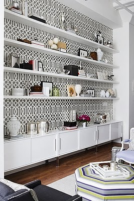 wallpaper behind shelving