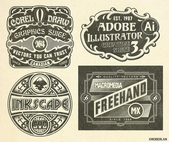 """vintage"" graphic software labels"