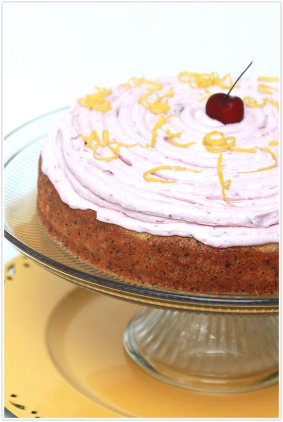 Lemon Poppy Seed Cake with Cherry Buttercream Frosting by Forgiving Martha for Camille Styles